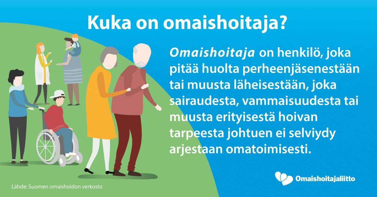 Kuka on omaishoitaja? Omaishoitaja on henkilö, joka pitää huolta perheenjäsenestään tai muusta läheisestään, joka sairaudesta, vammaisuudesta tai muusta erityisen hoivan tarpeesta ei selviydy arjestaam omaitoimisesti. Lähde Suomen omaishoidon verkosto.